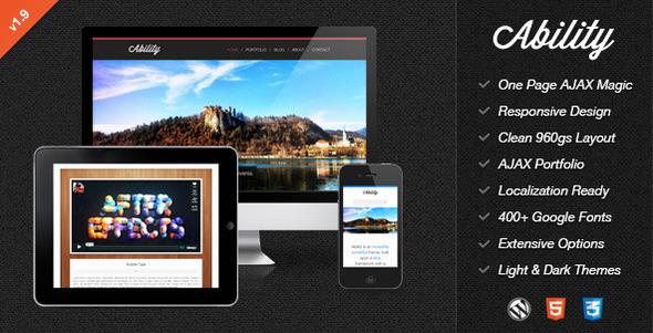Ability - Responsive One Page Ajax WordPress Theme