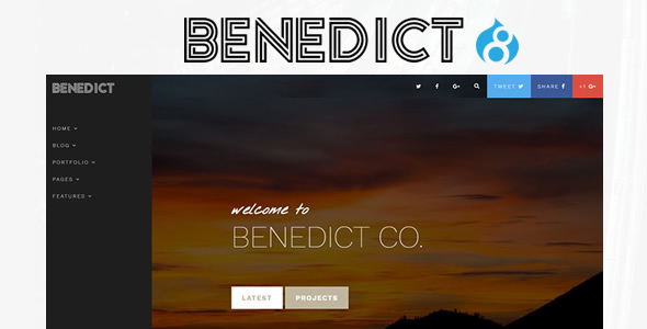 Benedict - Creative Side Navigation Blog/Portfolio Drupal Theme