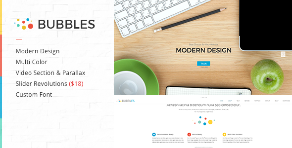 Bubbles Parallax One Page WordPress Theme