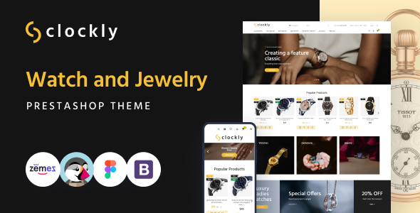 Clockly - Watch and Jewelry Store Responsive PrestaShop Theme