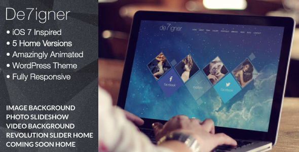 De7igner - Flat iOS7 Inspired OnePage Parallax WP