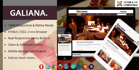 Galiana - Responsive Restaurant Joomla Template