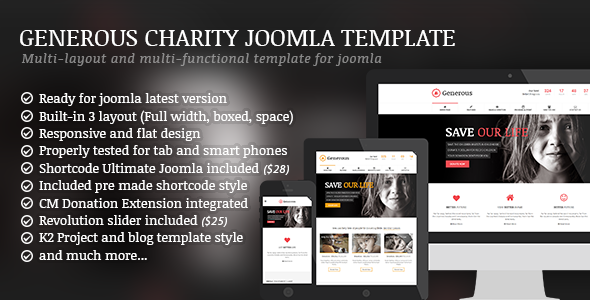 Generous - Charity / Non-Profit / Orphan / Fund-raising / Crowd-funding Joomla Template