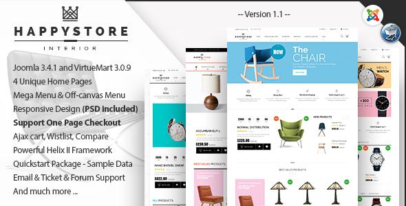 HappyStore - Furniture & Interior Joomla Template