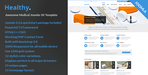 Healthy– Awesome Medical Joomla-3X Template