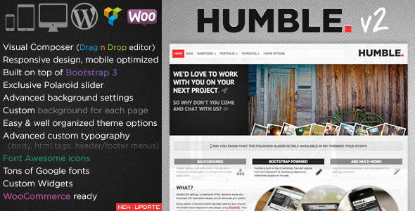 Humble. Responsive Multi-Purpose Drag n Drop Theme