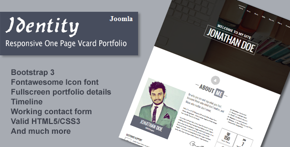 Identity - Responsive One Page Vcard Portfolio Joomla Template