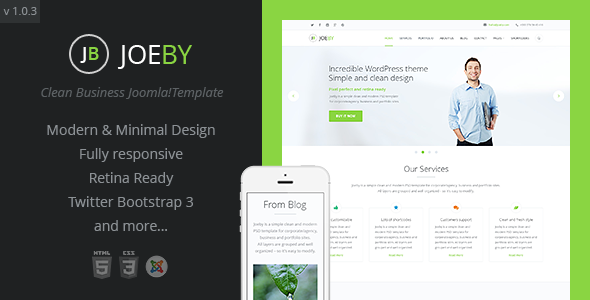 Joeby | Onepage Clean Business Joomla Template