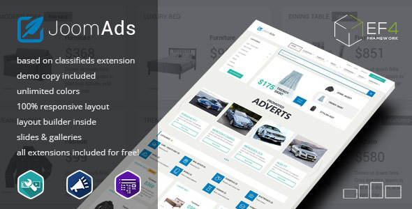 JoomAds - multipurpose listings site