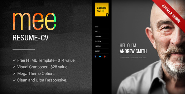 MEE - Responsive Resume / Personal Portfolio Joomla Template