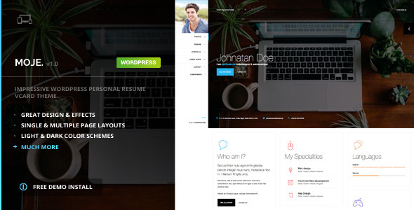 Moje - vCard Bootstrap Responsive WordPress Theme