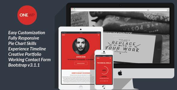 One Wordpress - Responsive, Personal Resume