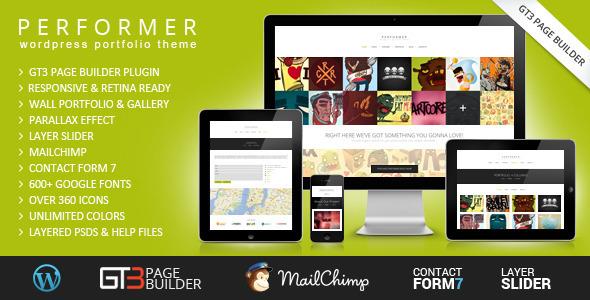 Performer Minimalistic Portfolio WordPress Theme