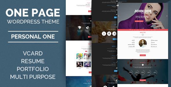 Personal One - OnePage / VCard / WordPress Theme