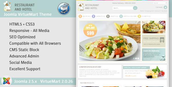 Restaurant - VirtueMart Responsive Template