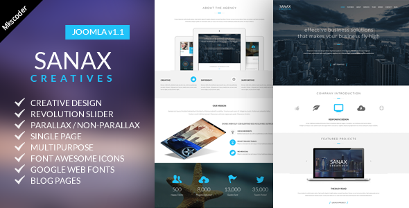 Sanax | One Page Multi-Purpose Joomla Template