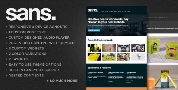 Sans – A Responsive Portfolio WordPress Theme