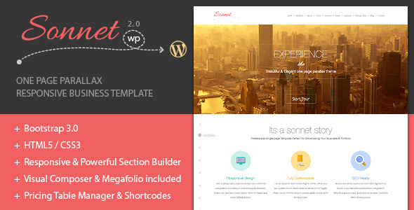 Sonnet One Page Wordpress Multipurpose Portfolio