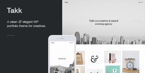 Takk: a clean and responsive WordPress portfolio theme with a fullscreen parallax background image