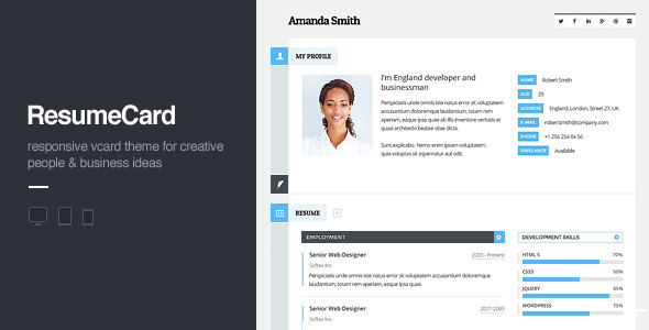 vCard Responsive WordPress Theme