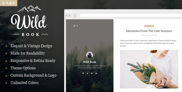 Wild Book - Vintage & Elegant WordPress Blog Theme