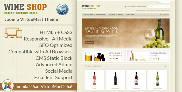 Wine Shop - Responsive VirtueMart Template